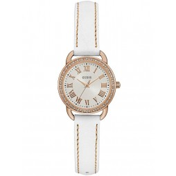Guess Ladies Rose Gold Plated White Leather Strap Watch W0959L3