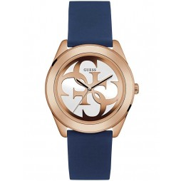 Guess Ladies Rose Gold Plated Blue Rubber Strap Watch W0911L6