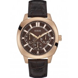 Guess Mens Prime Leather Strap Watch W0660G1
