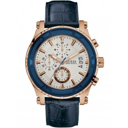Guess Mens Rose Gold Plated Blue Leather Strap Watch W0673G6
