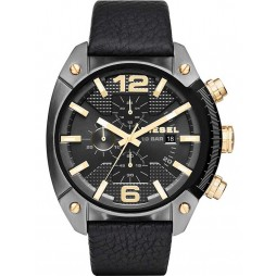 Diesel Mens Overflow Leather Strap Watch DZ4375