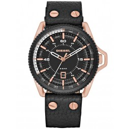 Diesel Mens Rollcage Rose Gold Plated Black Leather Strap Watch DZ1754