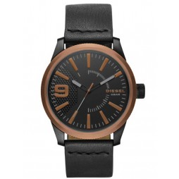 Diesel Mens Rasp Black and Copper-IP Strap Watch DZ1841