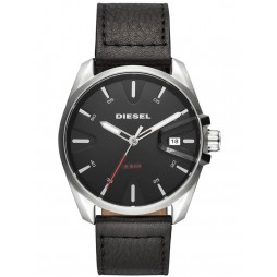 Diesel Mens MS9 Black Leather Strap Watch DZ1862