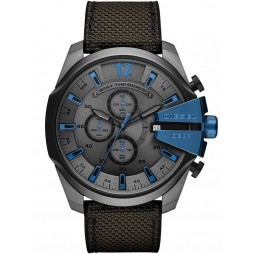 Diesel Mens Mega Chief Dark Stainless Steel Black Fabric Strap Watch DZ4500
