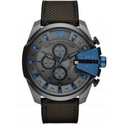 Diesel Mens Mega Chief Dark Stainless Steel Black Fabric Strap Watch DZ4500