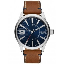 Diesel Mens Rasp Blue Dial Brown Leather Strap Watch DZ1898
