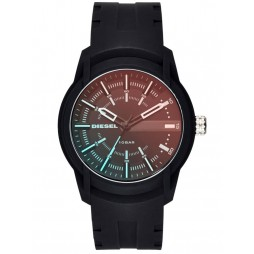 Diesel Mens Armbar Black Iridescent Dial Black Rubber Strap Watch DZ1819