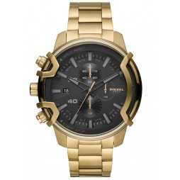 Diesel Mens Griffed Black Chronograph Dial Gold Plated Bracelet Watch DZ4522