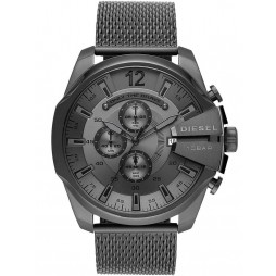 Diesel Mens Mega Chief Chronograph Dial Stainless Steel Gunmetal Mesh Strap Watch DZ4527