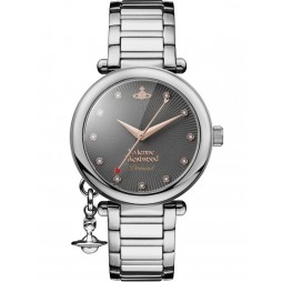 Vivienne Westwood Ladies Orb Black Diamond Set Dial Bracelet Watch VV006GNSL