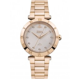 Vivienne Westwood Ladies Montagu Rose Gold Plated Textured Diamond Set Dial Bracelet Watch VV206SLRS
