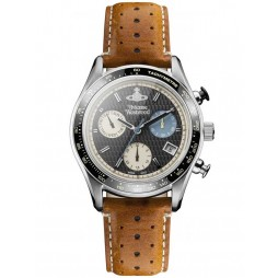 Vivienne Westwood Mens Sotheby Chronograph Stainless Steel Brown Strap Watch VV142BKTN