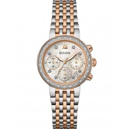 Bulova Ladies Diamond Gallery Two Tone Watch 98W215