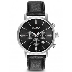 Bulova Mens Classic Black Chronograph Watch 96B262