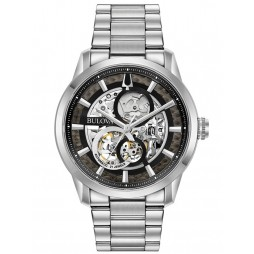 Bulova Mens Sutton Stainless Steel Automatic Black Skeleton Dial Bracelet Watch 96A208