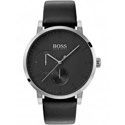 BOSS Mens Oxygen Black Leather Strap Watch 1513594