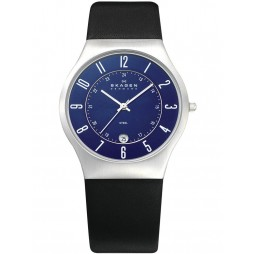 Skagen Steel Black Strap Round Blue Dial with Date Watch 233XXLSLN