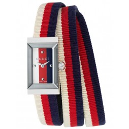 Gucci Ladies Rectangular Multi-Coloured Fabric Strap Watch YA147502