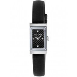 Gucci Ladies Rectangular Black Leather Strap Watch YA147504