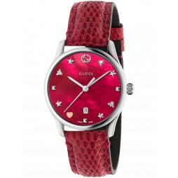 Gucci Ladies Cherry Red Small Leather Strap Watch YA126584