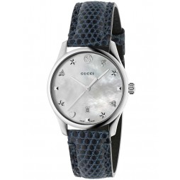 Gucci Ladies Marine Blue Leather Strap Watch YA126588