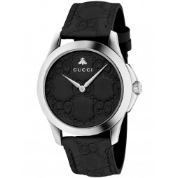 Gucci Ladies Black Leather Strap Watch YA1264031