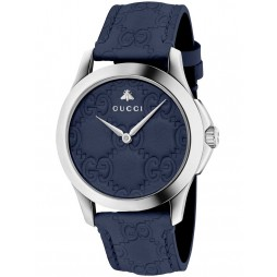 Gucci Ladies Blue Leather Strap Watch YA1264032