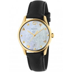 Gucci Ladies Gold Plated Black Leather Strap Watch YA1264044