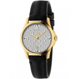 Gucci Ladies Gold Plated Small Black Leather Strap Watch YA126571