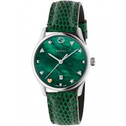 Gucci Ladies Green Signature Medium Leather Strap Watch YA1264042