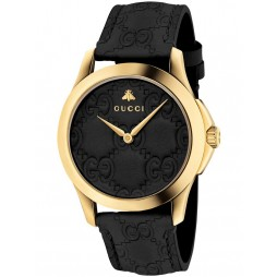 Gucci Ladies Gold Plated Signature Medium Black Leather Strap Watch YA1264034