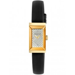 Gucci Ladies Rectangular Gold Plated Black Leather Strap Watch YA147506