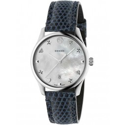 Gucci Ladies Marine Blue Medium Leather Strap Watchh YA1264049