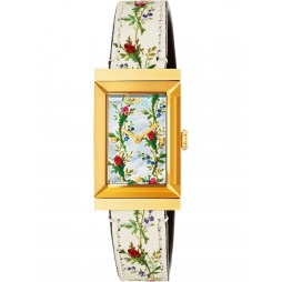 Gucci Ladies G-Frame Gold Plated Rectangle Small Bloom Strap Watch YA147407