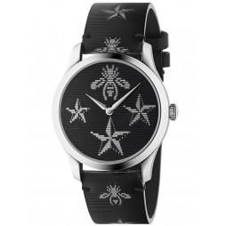 Gucci Ladies G-Timeless Silver Contemporary Hologram Leather Strap Watch YA1264105