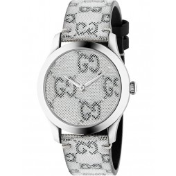 Gucci Ladies G-Timeless GG Grey Dial Leather Strap Watch YA1264058