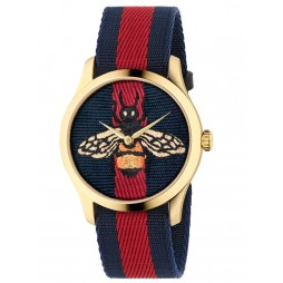 Gucci Ladies Les Marche Des Merveilles Embroidered Bee Motif Gold Plated Multicolor Fabric Strap Watch YA1264061A