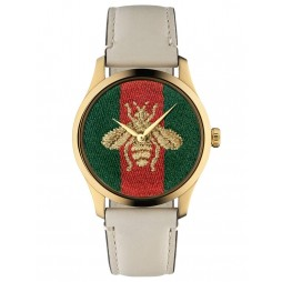Gucci Ladies G-Timeless Gold Plated Embroidered Bee Motif Cream Leather Strap Watch YA1264128