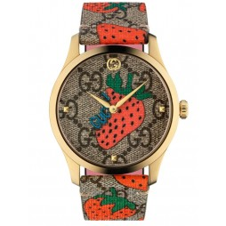Gucci Ladies G-Timeless Gold Plated Strawberry Leather Strap Watch YA1264133