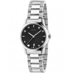 Gucci Ladies Black Signature Small Bracelet Watch YA126573