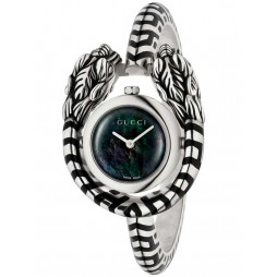 Gucci Ladies Sterling Silver Small Black Tiger Snake Bangle Watch YA149501
