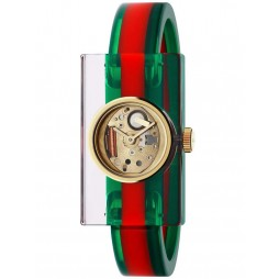 Gucci Ladies Gold Plated Green Red Medium Plastic Bangle Watch YA143501
