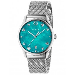 Gucci Ladies G-Timeless Stainless Steel Slim House Motifs Mesh Strap Watch YA1264039