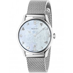 Gucci Ladies G-Timeless Stainless Steel Diamond Set Slim House Motifs Mesh Strap Watch YA1264094