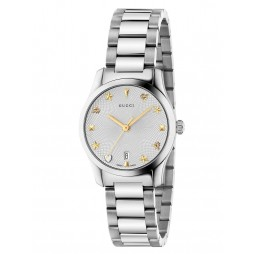 Gucci Ladies G-Timeless Small Stainless Steel Bracelet Watch YA126572A
