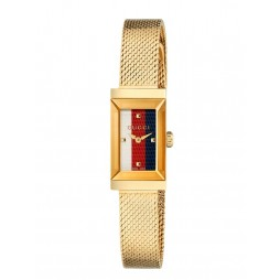 Gucci Ladies G-Frame Gold Plated Rectangle Dial Mesh Strap Watch YA147511