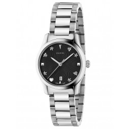 Gucci Ladies G-Timeless Stainless Steel Small House Motif Black Dial Bracelet Watch YA126573A