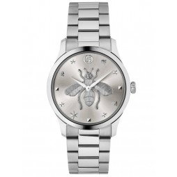 Gucci Ladies G-Timeless Stainless Steel Silver Bee Motif Dial Bracelet Watch YA1264126