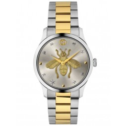 Gucci Ladies G-Timeless Two Tone Gold Bee Motif Dial Bracelet Watch YA1264131